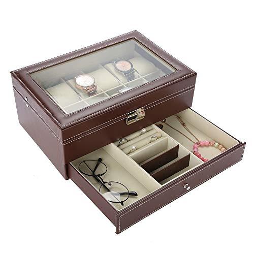 lyrlody Caja de Reloj, Caja de joyería, Caja de Reloj con cajón de joyería Caja de joyería Caja de Almacenamiento Conveniente para Pulseras Pendientes Anillos Collares