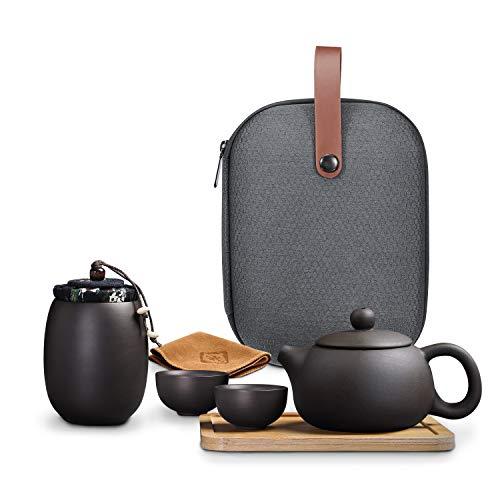 JEEZAO 6 Stück Chinesische Tee Set,Tragbare Reise Kungfu Teekannen-Set Yixing Handgefertigte Zisha mit Tablett, für Geschenk, Reise,Büro, Heimgebrauch (Stil 1)