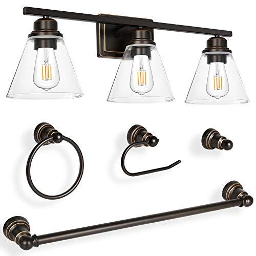 Hykolity 3-Light Vanity Light Fixture, 5-Piece All-in-One Bathroom Set (Led Edison Bulbs as Bonus), Oil Rubbed Bronze Wall Sconce Lighting with Glass Shads, ETL Listed