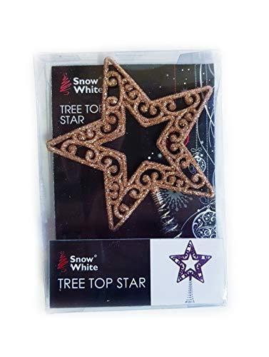 Homestreet Christmas Star Tree Topper 14cm Metal Wire Glitter (Rose Gold)