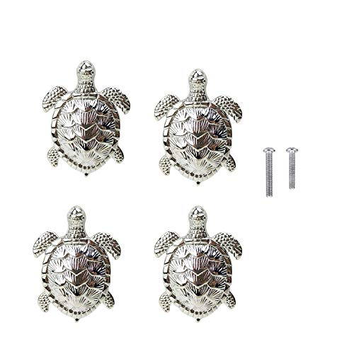 HozYi Set of 4 Ocean Turtles Metal Dresser Drawer Cabinet Door Knob Pull Handles Home Bath Beach Nautical Coastal Decor (Silver)
