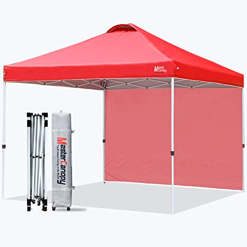 MasterCanopy Patio Pop Up Gazebo Instant Shelter Beach Gazebo with 1 Side Wall, Better Air Circulation Outdoor Canopy with Wheeled Carry Bag and 4 Sand Bags(2.5x2.5M,Red)