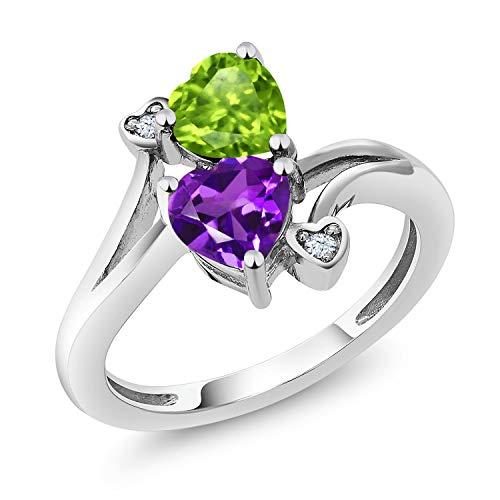 Gem Stone King 925 Sterling Silver Green Peridot and Purple Amethyst Women's Ring (1.51 Cttw Heart Shape Gemstone Birthstone) (Size 5)