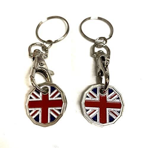 UK Phoenix Einkaufswagenchip / Schlüsselanhänger, 12 Seiten, 1 Pfund-Münze, für Fitnessstudio, Einkaufskorb, Asda Aldi Lidl Tesco Sainsbury (2 x Union Jack)