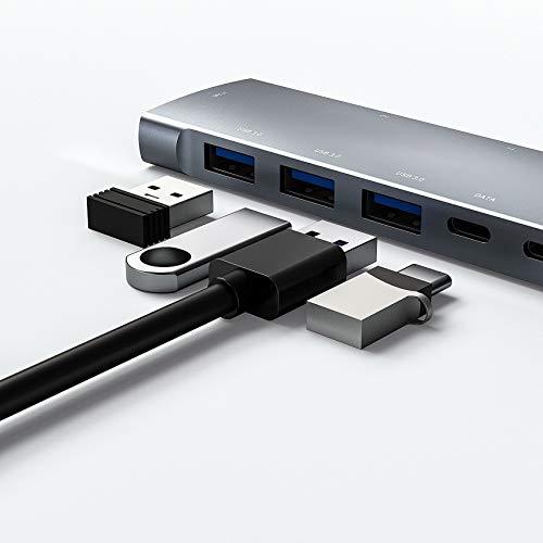 Adaptador de concentrador USB C, adaptador de 9 en-1 USB C con 4K HDMI, 3 puertos USB 3.0, lector de tarjetas SD / TF, audio de 3.5 mm, tipo C 60W PD, puerto tipo C, compatible con MacBook Pro / Air