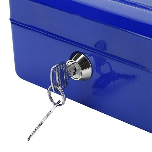 GUSTAR Caja de Efectivo, Cajas de Bloqueo de Seguridad 2 Llaves de Repuesto para Oficina para automóvil(Blue)