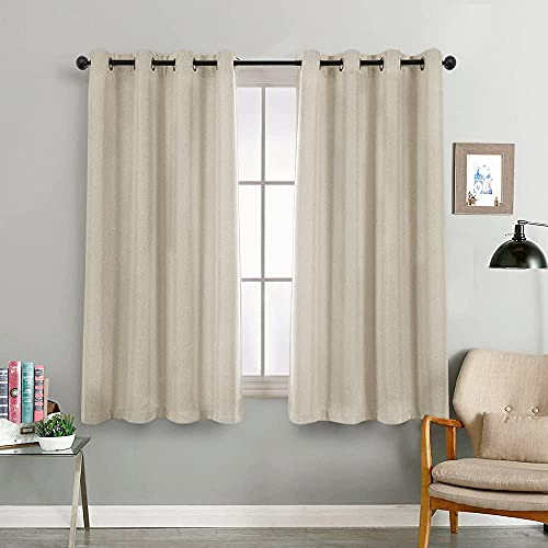 Vangao Beige Curtains Linen Textured for Living Room Drapes for Bedroom 72 inches Long Light Reducing Window Treatment Set 2 Panels Grommet Top 1 Pair