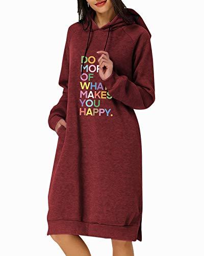 Kidsform Sudadera con Capucha para Mujer Sudadera con Capucha de Otoño Sudadera con Bolsillo Hoodie Color sólido Hoodie Sudadera Larga J-F Vino Tino XL