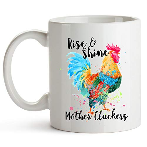YouNique Designs Rise and Shine Mother Cluckers Mug, 11 Ounces, Chicken Coffee Cup for Women, Crazy Chicken Lady Mug for Chicken Lovers