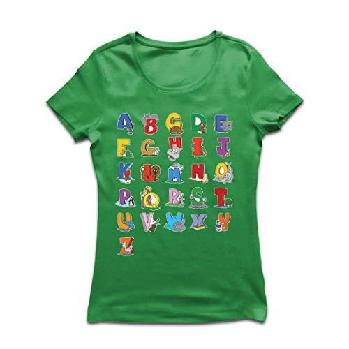 lepni.me Camiseta Mujer Alfabeto Inglés, Diseño de Canciones ABC, Aprendizaje de Letras, Regreso a la Escuela o Regalos de Graduación (Large Verde Multicolor)