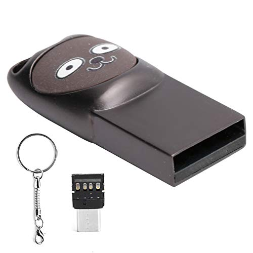 Unidad Flash USB, Linda Unidad de Almacenamiento en Disco en U Memory Stick Pen Drive USB2.0 W/Type-C Adaptador Llavero para Computadora de Teléfono Móvil(16 GB)