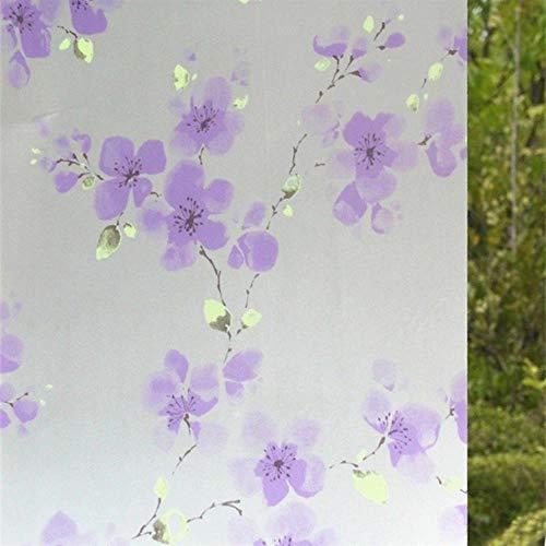60x200cm Zelfklevende folie voor badkamer raam glazen schuifdeuren cellofaan toilet doorschijnend raam glas zelfklevend papier, Paars pruim