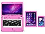 ebuddy Pink 3 Pack Casa de muñecas Mini ordenador portátil Tablet y accesorios de simulación de teléfono juguete para muñecas 1/6 1/12 miniaturas set de juego