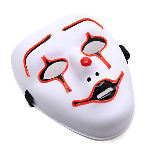 Ansee Scary Mask Halloween Cosplay Led Costume Mask El Wire Light Up Mask for Festival Parties (Clown Mask Red)
