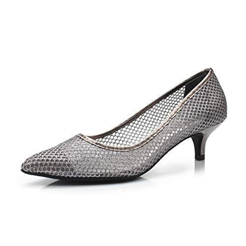 Brilliant Women's Elegant Breathable Kitten Heel Dress Pump Pointed Toe Wedding Party Shoe,Brilliant Dark Grey,8.5 M US