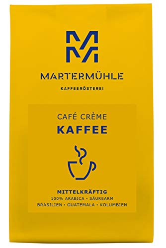 Martermühle | Kaffee Café Crème (500g) | Ganze Bohnen | Premium Kaffeebohnen aus Brasilien, Guatemala, Kolumbien | Schonend geröstet | Kaffee säurearm | 100% Arabica