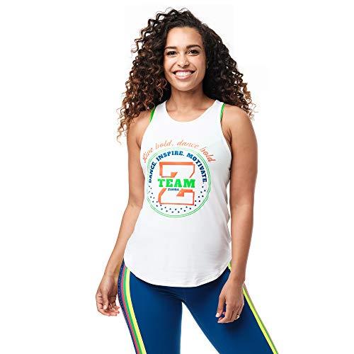 Zumba Camiseta de tirantes de cuello alto para entrenamiento con diseño gráfico de danza para mujer