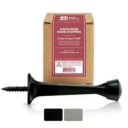 Jack N' Drill 3-Inch Rigid Door Stop (12 Pack) - Heavy Duty Solid Metal Door Stopper | Prevents Wall & Door Damage - Rigid Rubber Tip Door Stop for Kitchen, Bedroom, Office, Garage