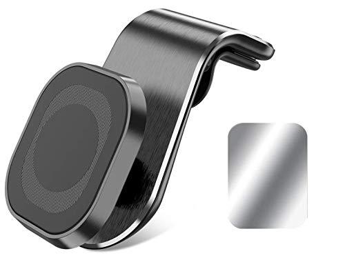 Moogambi Imán Coche móvil para Rejilla de ventilación Giro 360 Grados con 1 Placa metálica Soporte magnético Cuadrado con Pinza Universal Compatible con Todos Smartphone Tablet GPS