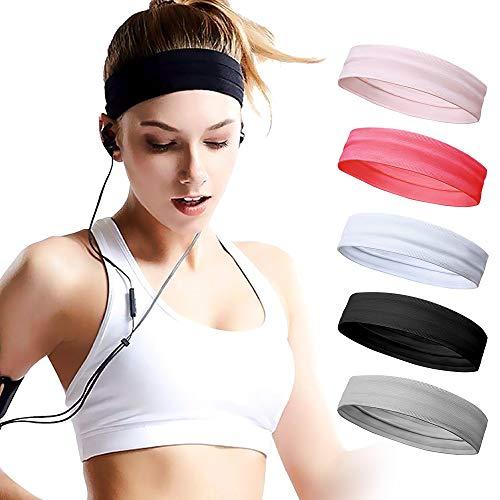 CestMall Damen Sport Stirnband für Yoga Sportlich Laufen Workout Fitness Übung Tennis Gym Fahrrad Wandern Volleyball Tanz Reisen- Elastische rutschfeste Leichte Haarband (5 Stück)