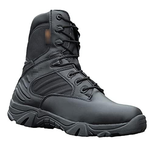 Zapatos de trabajo de los hombres de cuero impermeable con cordones tácticos botas de moda motocicleta combate y tobillo botas militares