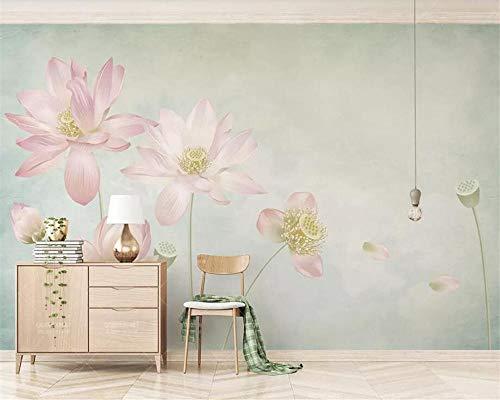 Fotobehang met de hand getekende lotusbloemen bloemen modern thuis woonkamer tv-achtergrondwand fotobehang voor muren 3 D 400 * 280 cm