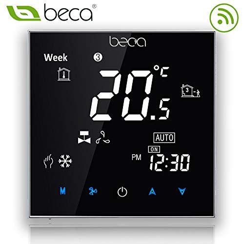 Termostato programable Serie Beca 2000 dos / cuatro tubos para aire acondicionado Fan Coil con conexión wifi para soporte Intelligent Voice (Dos tubos, Negro)