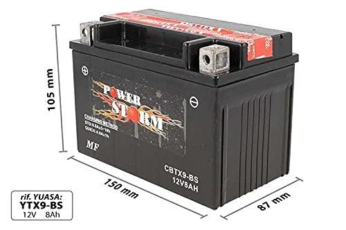 Batería moto Power Storm CBTX9-BS (YTX9-BS) - Sin mantenimiento - 12 V 8 Ah - Dimensiones: 150 x 87 x 105 mm compatible con Polaris Outlaw MXR 450 2008-2010