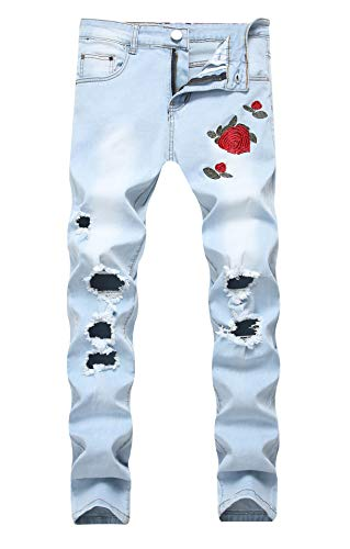Men's Blue Flower Jeans Skinny Ripped Stretch Distressed Destroyed Rose Pants 30