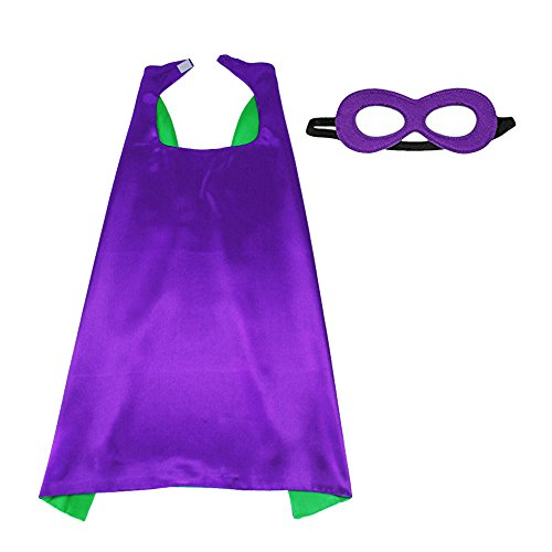 D.Q.Z Superhero Cape and Mask for Kids Adults Reversible Dress Up Costume Party (Purple-Green)