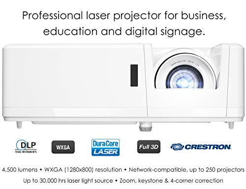 Optoma ZW403 WXGA Professional Laser Projector   DuraCore Laser Light Source Up to 30,000 Hours   Crestron Compatible   4K HDR Input   High Bright 4500 lumens   2 Year Warranty, White