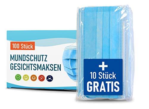 Premium Maske - 100 Stück 3-lagige Masken - optimal für Mund- und Nasenschutz + 10 Stück GRATIS