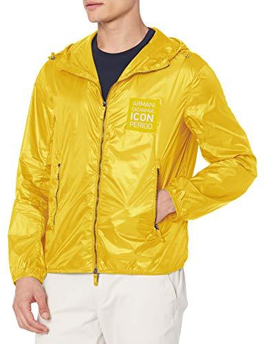 AX Armani Exchange Mens Logo Patch Zip Up Blouson Jacket, Logo Patch Zip Up Blouson Jacket, M, Stormy Weather