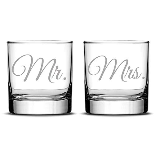 Integrity Bottles Premium Wedding Whiskey Glasses, Mr. and Mrs, Hand Etched 11oz Rocks Glasses, Made in USA, Highball Gifts, Set of 2, Sand Carved
