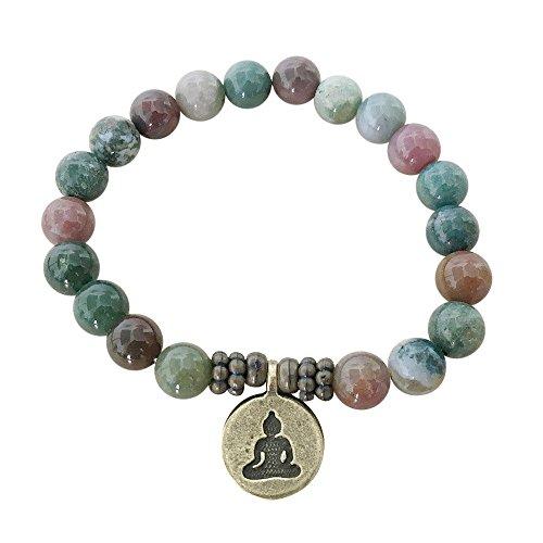 """Bracciale """"Peace and love"""" fatto a mano con agata, diaspro e quarzo rosa ottenuti in modo etico, con ciondolo, in confezione regalo, colore: Green Gemstone-Buddha, cod. 3DESIGNS-BRACELETS"""