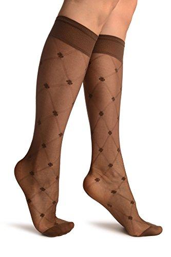 LissKiss Brown With Woven Mesh und Clover Socks Knee High - Braun Socken, Einheitsgroesse (37-42)