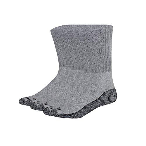 Dickies Men's Multi-Pack Dri-Tech Moisture Control Crew Socks, Gray (6, Shoe 6-12 Size: 10-13)