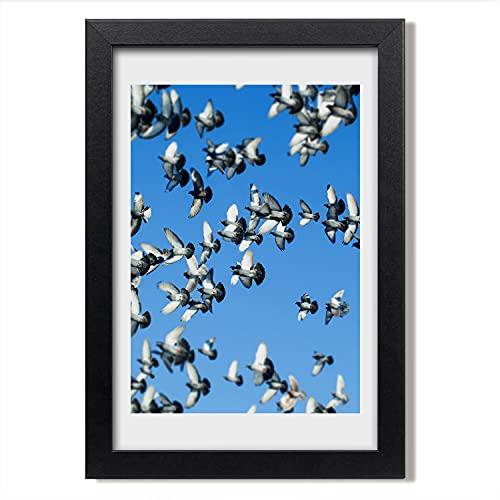 Tulup Imagen en el Marco MDF Impresión Pintura 70x100cm Marco Cuadro Decoración de Pared Salón Cocina Impresiones Póster - Colombe en el Cielo