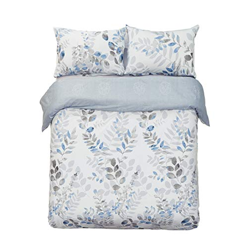Word of Dream 250TC 100% Cotton Floral Print Duvet Cover Set 3 PC, Leaves Pattern, Full/Queen