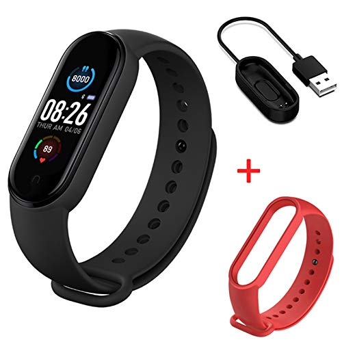 XXY Smarth Watch Sport Fitness Tracker Pedómetro Tasa del Corazón Monitor De Presión Arterial Bluetooth M5 Banda Pulsera Inteligente Hombres Mujeres (Color : Black and Red)