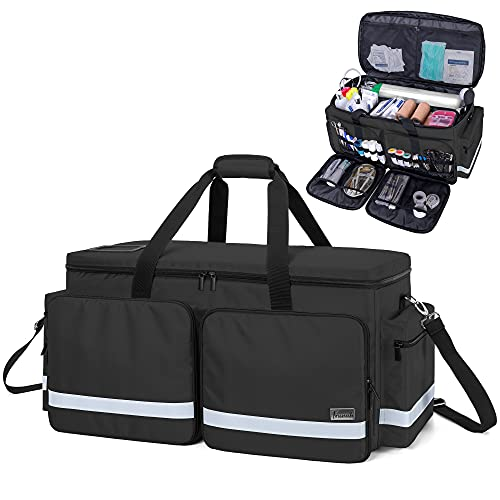 Trunab Emergency Medical Bag Empty with Compartment for Oxygen Tank(M2-M22), First Responder Trauma Bag with Reinforce Bottom Board for Sport Team, Community Volunteer, Black - Patented Design