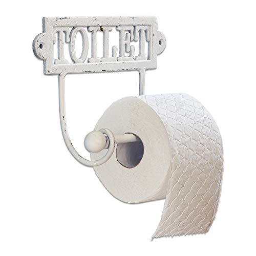Loberon Toilettenpapierhalter Miramas, Eisen, H/B/T ca. 17,5/23,5/8,5 cm, antikweiß