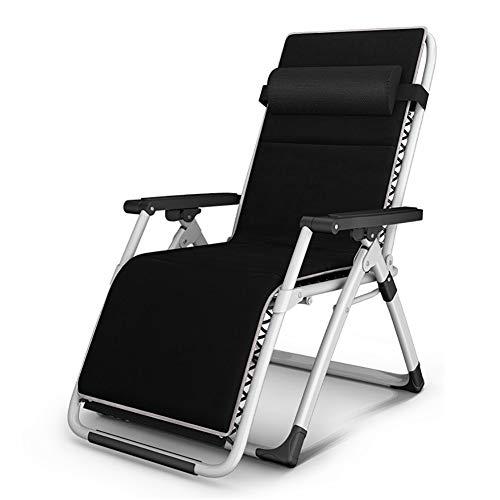 Fauteuils de salon inclinables Chaise robuste noire Textoline Zero Gravity avec coussin |Chaises longues de jardin pliantes de patio pour la plage |Supporte 287lbs (Couleur : Thin cushion)