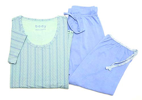 Tchibo TCM Damen Schlafanzug mit 3/4 Hose Blau-Mint (36/38 S)