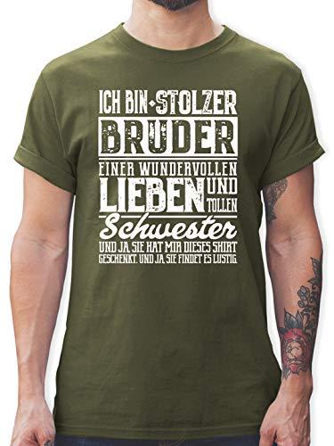 Bruder & Onkel - Ich Bin stolzer Bruder Einer tollen und wundervollen Schwester - XL - Army Grün - Tshirt Bruder Schwester - L190 - Tshirt Herren und Männer T-Shirts