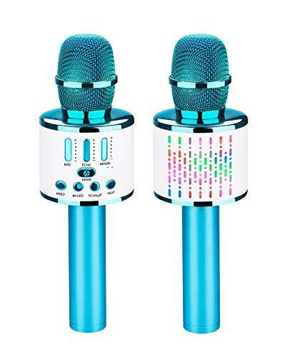 ShinePick Micrófono Karaoke Bluetooth, 4 en1 Microfono Inalámbrico Karaoke Mano Speaker Portátil con Luces LED, para Niños Canta Partido Musica, Compatible con Android, iOS, PC, Teléfono Intel