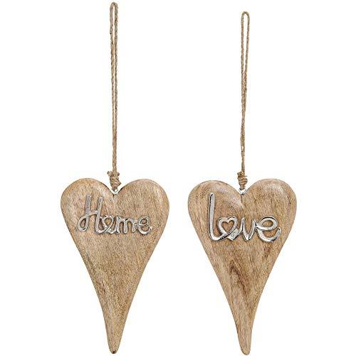matches21 Herzen Holz Holzherzen mit Metallschriftzug Home & Love Kordel zum Hängen Silber/braun 2er Set je 16x26 cm