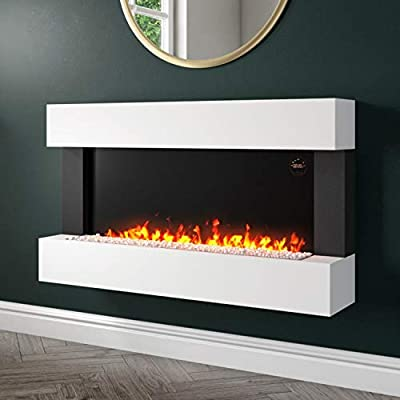 Amberglo White Wall Mounted Electric Fireplace Suite with Logs & Crystal Fuel Beds
