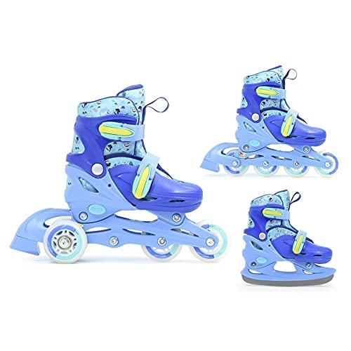SMJ Monster Kinder Skating Set 3in1 Inliner/Rollschuhe/Schlittschuhe VERSTELLBAR | ABEC5 Inline Skates | Umbaubar zu Eislaufschuhe (S (30-33))