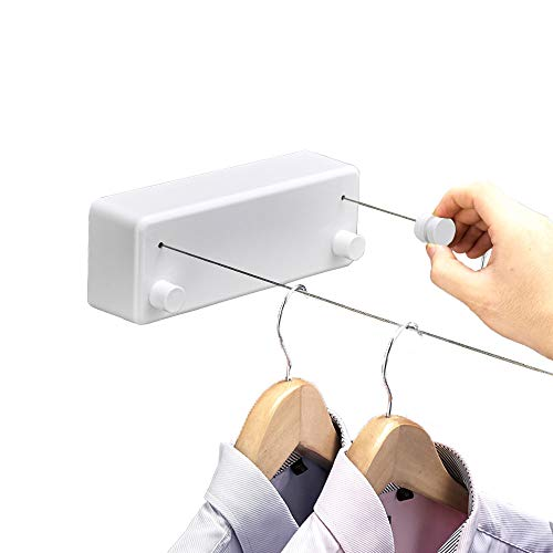 Bakala Retractable Clothesline Indoors Laundry Line with Adjustable Stainless Steel Double RopeWall Mounted Space-Saver Drying Line for BalconyBathroom138 Feets Clothes LineWhite